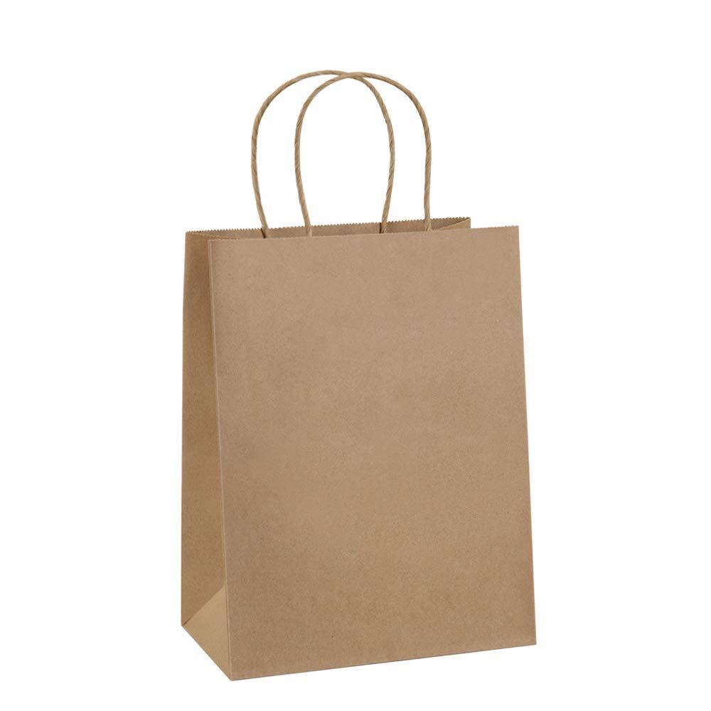 Paper Bags 8x4.25x10.5 100Pcs BagDream Gift Bags, Party Bags, Shopping Bags, Kraft Bags, Retail Bags, Party Bags, Brown Paper Bags with Handles Bulk by BagDream