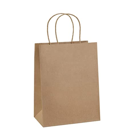 Gift Bags 8x4.25x10.5 25Pcs BagDream Paper Bags, Shopping Bags, Kraft Bags, Retail Bags, Brown Paper Gift Bags Bulk with Handles 100% Recyclable Paper ...