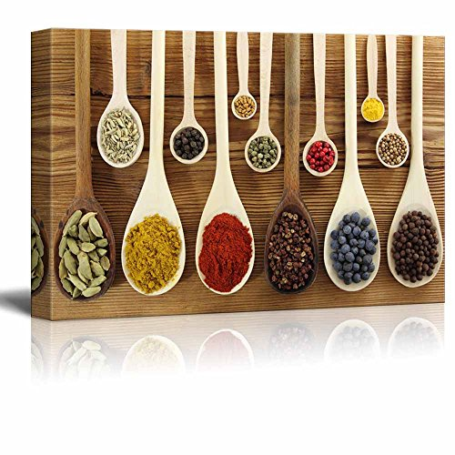 Still Life Colorful Spices in Wooden Spoons Kitchen Food Concept Wall Decor ation