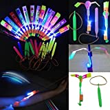10pcs Helicopter Flying Toy - Elastic Powered Sling Shot Heli. Similar to Flare Copter for Holidays Party and Outdoor Activity
