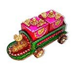 "Indian Diwali, Christmas, Home Decoration Multi-Purpose Wooden Spice Box/Decorative Gifts Wooden Dry Fruit Box/Tea Storage Box/Sweet/Wooden Train Cart Dry Fruits Box/Brown-Green 12"" X 6"" Inch."