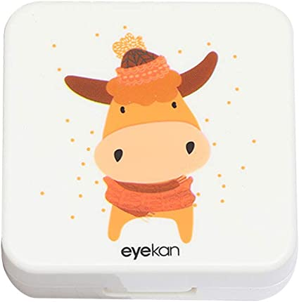 Drawihi Mini Caja de Lentes Caja Portatil Lentillas Twin Estuche para Gafas y lentillas Viaje para Lentes de Contacto Tamano de Bolsillo con para lentillas, para líquidos y Pinzas(Vaca Cuadrada): Amazon.es: Coche