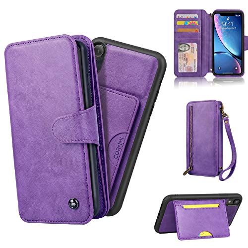 CORNMI iPhone Wallet Case for XR, Zipper Leather Case Shockproof Purse Cover Credit Card Holder Slot Cases with Kickstand Flip Folio Cover, Protective Cover Replacement for iPhone XR 6.1