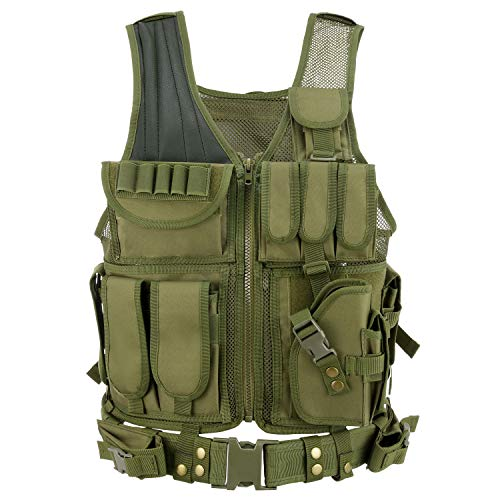 Barbarians Tactical Molle Vest Military Airsoft Paintball Vest Assault Swat Vest Adjustable Lightweight(Green)