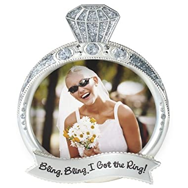 Malden International Designs Wedding Jewel and Glitter Bling Bling Ring Picture Frame, 3 by 4-Inch, Silver