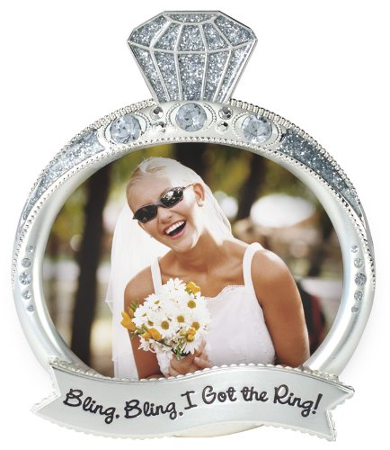 Malden International Designs Wedding Jewel and Glitter Bling Bling Ring Picture Frame, 3x4, ()