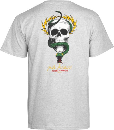 Swiss Powell (Powell-Peralta McGill Skull and Snake Gray T-Shirt, XX-Large)