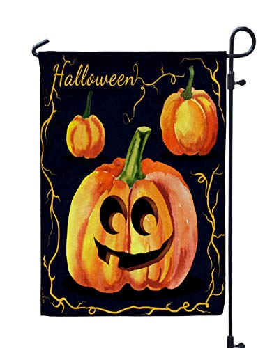 (Shorping Welcome Garden Flag, 12x18Inch Halloween Watercolor Pumpkin for Holiday and Seasonal Double-Sided Printing Yards)