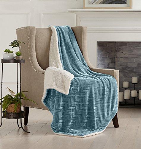 Blue Throw Blanket - Home Fashion Designs Premium Reversible Two-in-One Sherpa and Sculpted Velvet Plush Luxury Blanket. Fuzzy, Cozy, All-Season Berber Fleece Throw Blanket Brand. (Blue Surf)