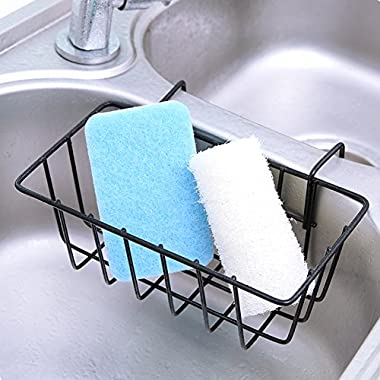 Lzttyee Kitchen Metal Hanging Sink Caddy Sink Draining Rack Organizer Brush Sponge Holder (Black)