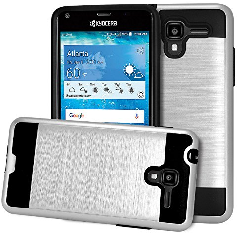 Hydro Shore Case ; Phonelicious (Tm) Kyocera Hydro Shore [Slim Fit] [Brushed Metal Texture] [Heavy Duty] Ultimate Drop Protection Rugged Cover w/ Screen Protector& Stylus (Silver Chrome)