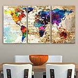 "Original by BoxColors LARGE 30""x 60"" 3 Panels 30""x20"" Ea Art Canvas Print Original Watercolor Texture Map Old brick Wall Full color decor Home interior (framed 1.5"" depth)"