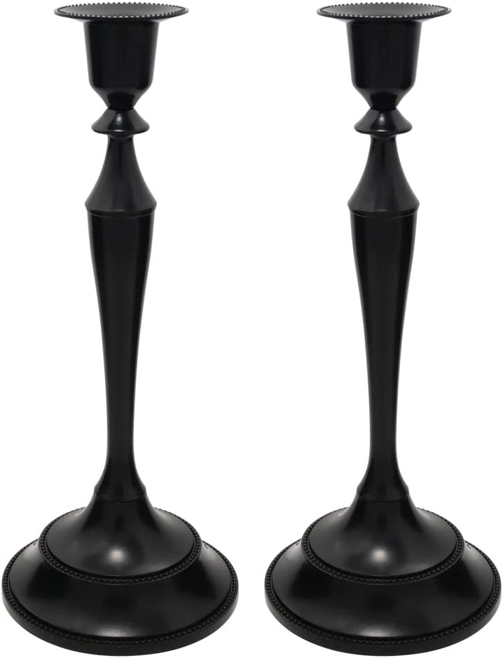Viscacha Metal Candelabra – Candlesticks Holder for Formal Events, Wedding, Church, Holiday Décor, Halloween – Taper Candle Holder Stand Centerpiece Elegant Decoration Piece for Table,Pure Black