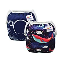 ALVABABY Swim Diapers Reusable One Size for Infants Toddlers Baby Gifts 2pcs