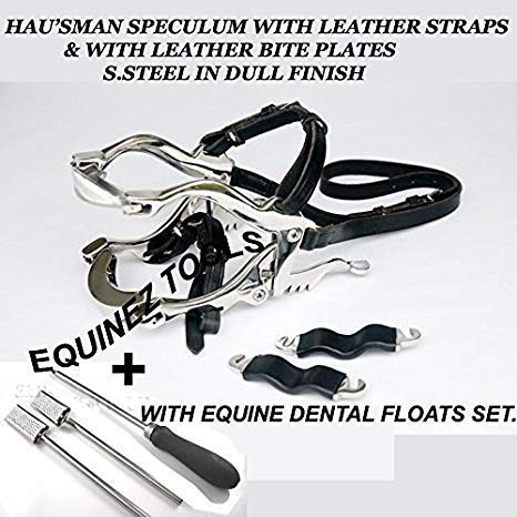 Equine Dental Kit Set Speculum Horse Mouth Gag Float Set Steel Leather McPherson by Equinez Tools