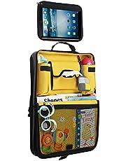 Parenthings Organizador para el asiento trasero del coche para niños: diseño original, tejido de calidad, 2 bolsillos para tazas y botellas, bolsillo con abertura para pañuelos, soporte para tabletas