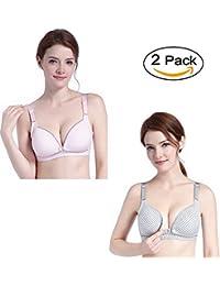 Women Cotton Nursing & Maternity Bra Front Opening Button Seamless Sleep Bra for Breastfeeding