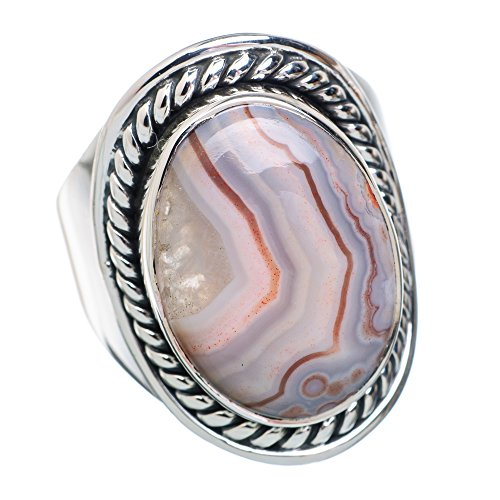 Laguna Lace Agate Ring Size 8 (925 Sterling Silver) - Handmade Jewelry RING876821 from Ana Silver