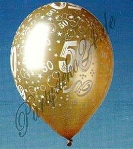 5 globos de color oro con número 50, para bodas aniversarios, bodas de oro, fiestas