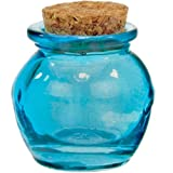 1.2oz Aqua Blue Small Recycled Glass Honey Pot Jar 2