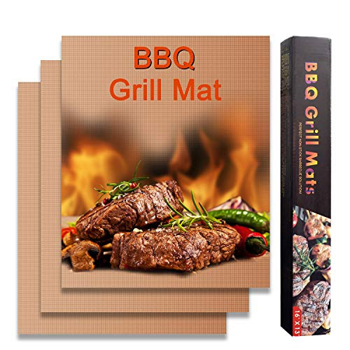 (Cozysmart Copper Grill Mat, Non Stick BBQ Grill Mats with Teflon, Heavy Duty Grill Cooking Mat, Reusable Barbecue Grilling & Baking Sheet for Gas, Charcoal, Electric Grill, 15.75 x 13 Inch, Set of 3)