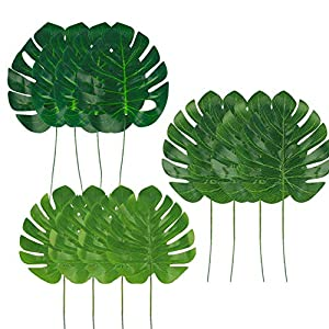 Dragang 3 Kinds Artificial Tropical Palm Leaves,Hawaiian Luau Party Jungle Beach Theme Decorations for Table Decoration Accessories 77