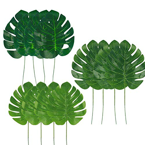 Dragang Palm Leaves Artificial Tropical Leaves Decorations,Palm Leaf for Party Decorations,Jungle Party Decorations,3 Different Sizes, 12pcs -