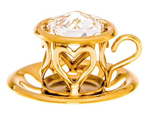 Teacup and Saucer 24k Gold Plated Metal Ornament with Spectra Crystal by Swarovski