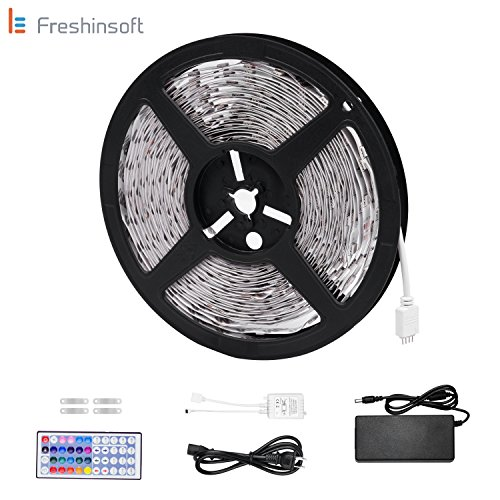 LeFreshinsoft Led Rope Lights 10M 32.8 Ft 5050 RGB 300LEDs Flexible Strip Lights Color Changing Full Kit with 44 Keys IR Remote Controller,24V 2.5A Power Supply for Home Decorative