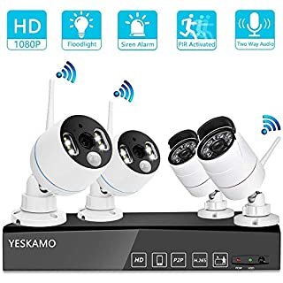 YESKAMO Wireless Security Camera System Outdoor 1080p [Floodlight & Audio] 2 x Floodlight Home Cameras 2 x Standard IP Camera 8 Channel NVR Support Two Way Talk,PIR&Motion Detection, No Hard Drive