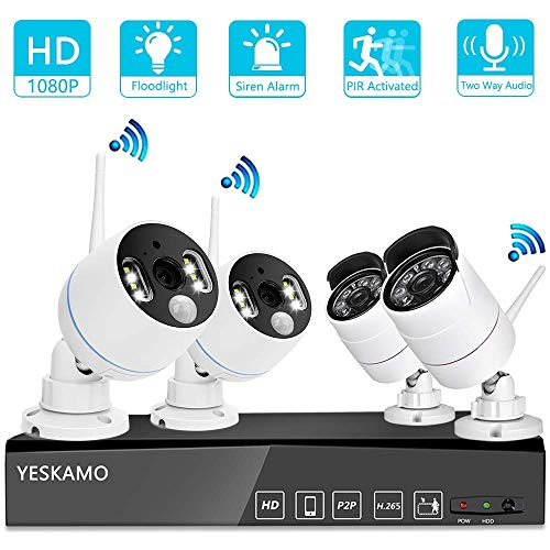 (YESKAMO Wireless Security Camera System Outdoor 1080p [Floodlight & Audio] 2 x Floodlight Home Cameras 2 x Standard IP Camera 8 Channel NVR Support Two Way Talk,Color Night Vision,PIR Motion Detection )