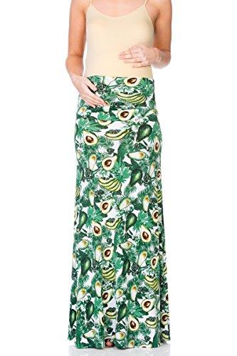 Skirt Avocado - My Bump Women's High Waisted Floor Length Maternity Maxi Skirt with Tummy Control(Made in USA) (Small, Avocado)