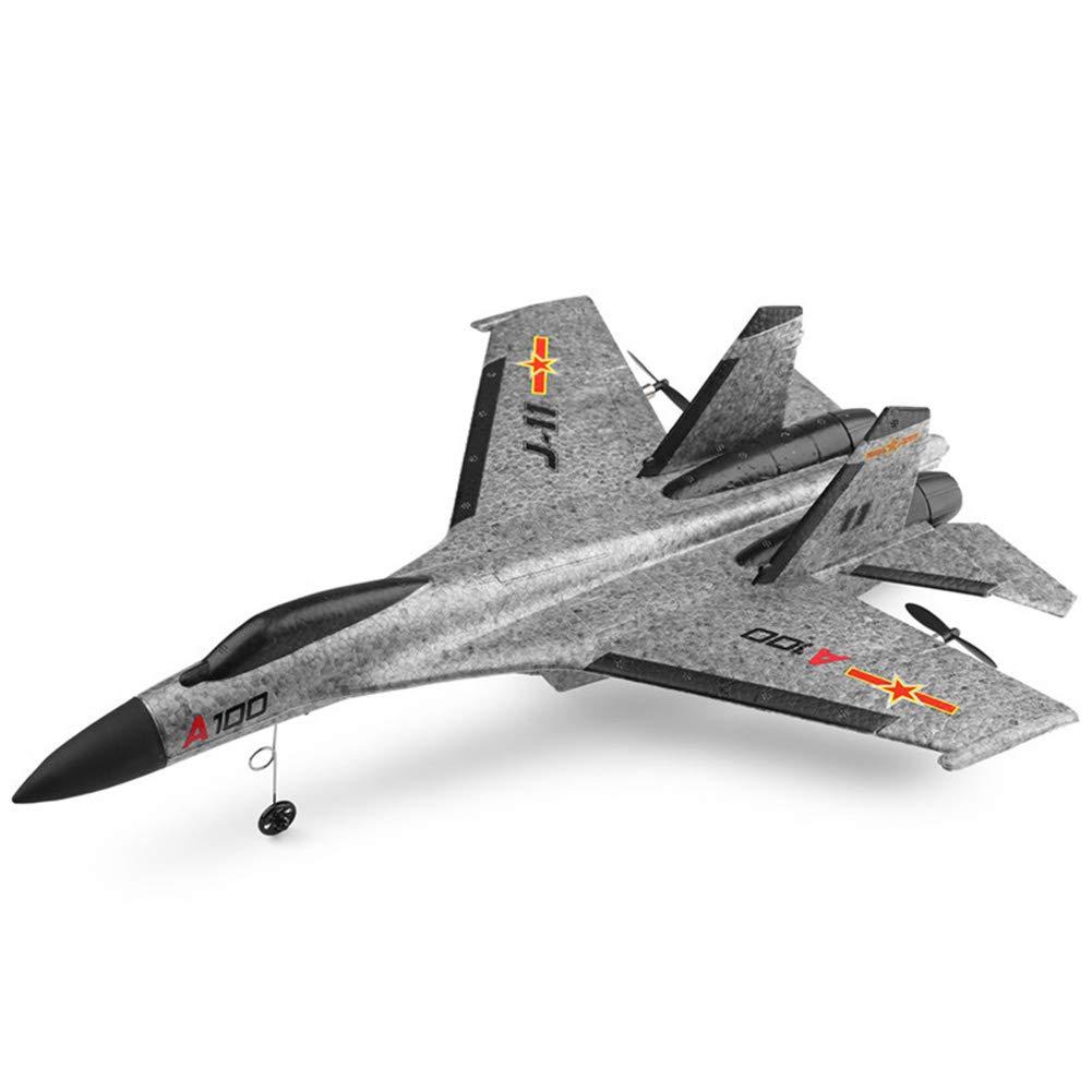リモートコントロール飛行機、EPPマテリアルシミュレーショングライダーA100 SU-27 3CH 2.4G RC、フリッププレーンはティーン用6軸ジャイロで飛行する準備ができて B07RWNGL4C Gray