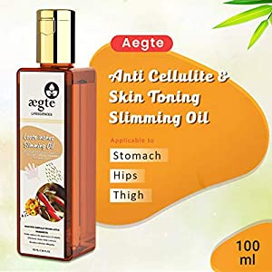 Aegte Loose Inches Anti Cellulite & Skin Toning Slimming Oil for Stomach, Hips,Thigh With Gugal, Red Chilli, Capsicum…