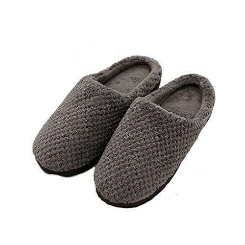 House Slippers For Adult Men Women, Cosy Cotton Fuzzy Inside Family Comfy Light Fashion Indoor Shoes (Dark Gray)