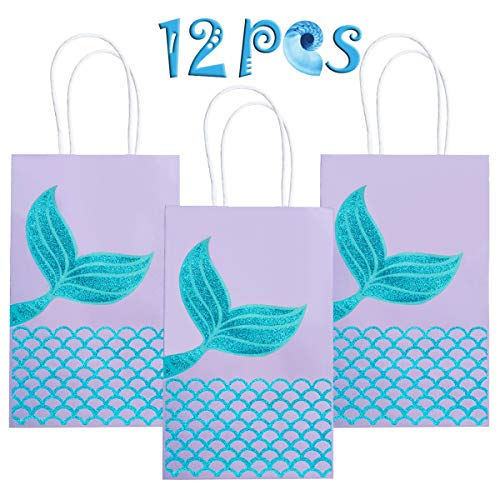 M MISS FANTASY Mermaid Gift Bags Mermaid Party Bags Mermaid Goodie Bag Glitter Treat Bags for Under The Sea Party Mermaid Gifts for Girls Set of 12 (Purple Mermaid -