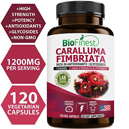 Biofinest Caralluma Fimbriata Extract 1200mg - Organic Gluten-Free Non-GMO - Made in USA - Natural Supplement for Weight & Appetite Management