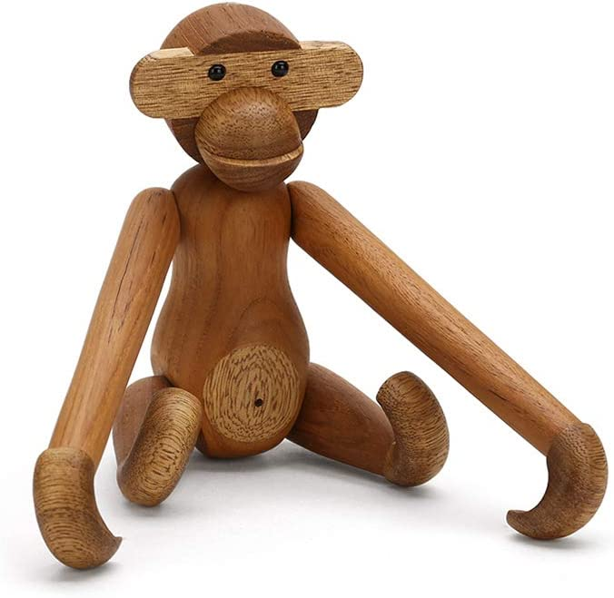 JoyMall Teak Monkey Decorations for Home,Wooden Hanging Monkey Doll Figurine Teak Wood Animal Statues Home Decoration (Monkey)