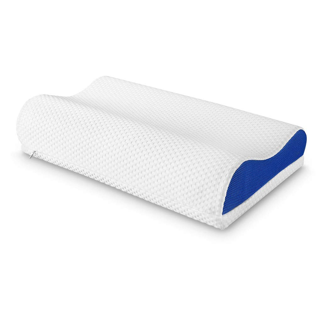 LANGRIA Orthopedic Memory Foam Contour Bed Pillow for Sleeping with Adjustable Height Detachable Foam Layer Neck Support and Washable Mesh Knit Cover Standard Size (1 Removable Loft Layer, White&Blue) by LANGRIA