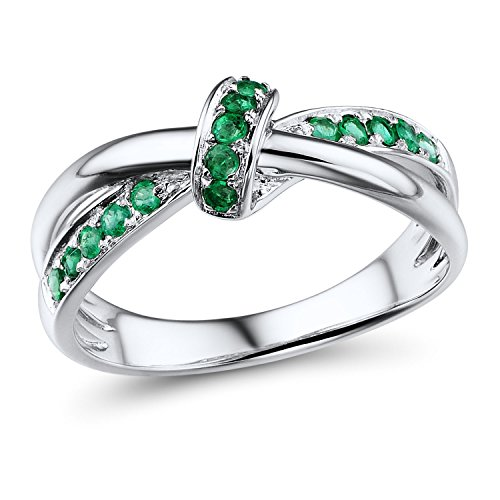 Lab Created Emerald Ring in Sterling Silver-Size 8
