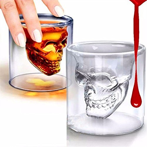 Ayutthaya Shop Magic Transparent Glass Skull Mugs Coffee Cups Bilayer Bar Wine Beer Drinkware Gift Tea Cup