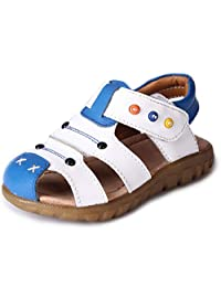 Bumud Little Kids Boy's Genuine Leather Closed Toe Sandals Flat Shoe