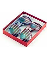 American Flag Aviator Sunglasses Glasses Box Set - Red & Blue