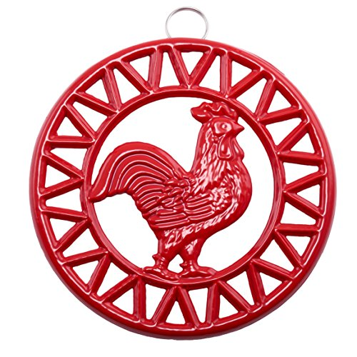 - Old Dutch 3045SR Two-Tone Rooster Trivet, Red