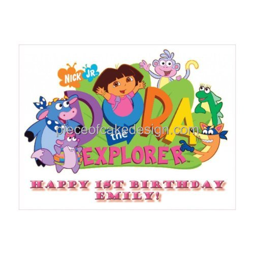 1/4 Sheet ~ Dora the Explorer Birthday Hugs ~ Edible Image Cake/Cupcake Topper!!!