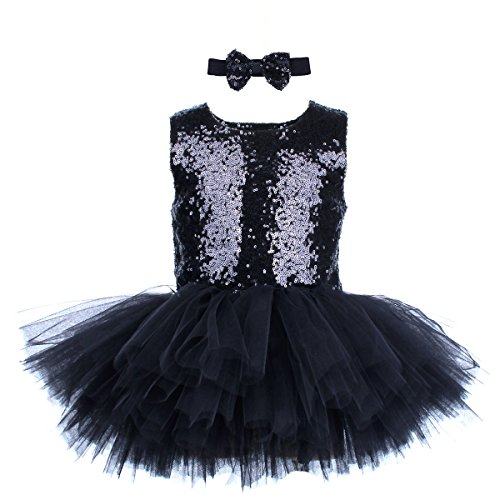 Baby Girls Sequin Tutu Dress Black Sleeveless Tutu Tulle Party Dress with Bow Tie for Special Occassion Party Wedding Dancing