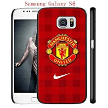 Samsung Galaxy S6 Case, Manchester United FC Soccer Team Logo 74 Drop Protection Never Fade Anti Slip Scratchproof Black Hard Plastic Case