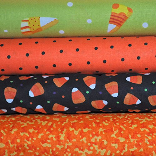 Fabric 4 Fat Quarters - Funky Candy Corn Halloween Bundle, 4 fat quarter cuts, 100% cotton fabric