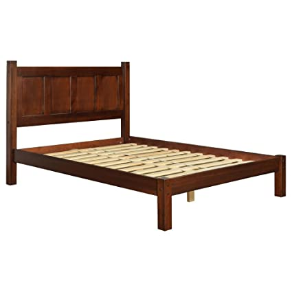Amazon Com Modern Shaker Solid Wood Queen Panel Platform Bed