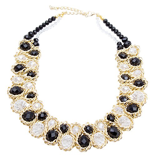 AWAYTR  Ladies Choker Necklace Gold Tone Fashion Statement Big Multi Color Crystals Black&White